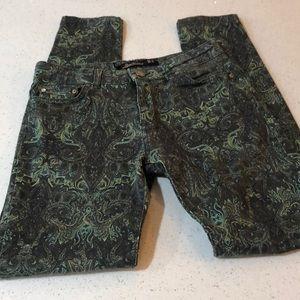 Zara Woman Slim Fit Green Paisley Print Jeans